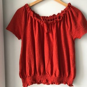Madewell Off the Shoulder Waffle Cotton Orange Top